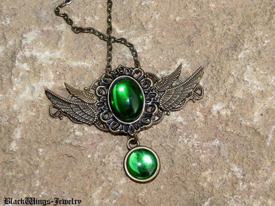 Angel - green by BlackWings-jewelry
