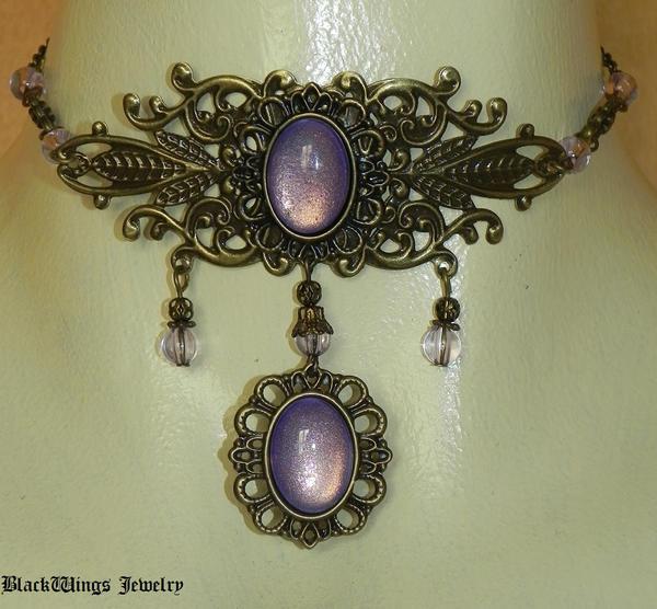 Purple choker by BlackWings-jewelry