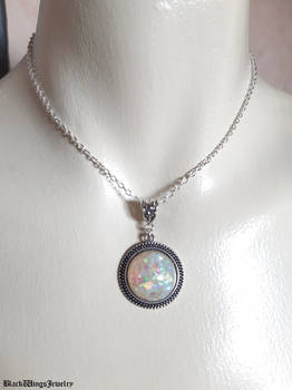 Resin white opal pendant