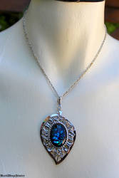 Silver leaf necklace by BlackWings-jewelry