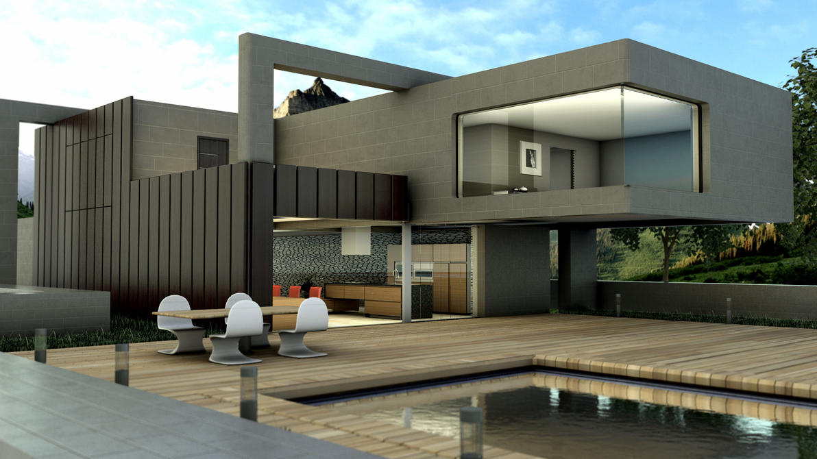 Exterior rendering by sisonfire on deviantart for Personal en el exterior