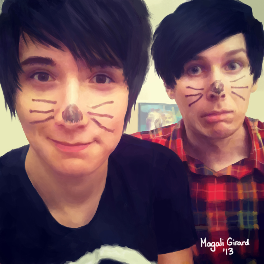 Drawing Of Daniel Howell And Phil Lester By Momo Ninja
