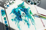 Blue Dog: Watercolor Commission