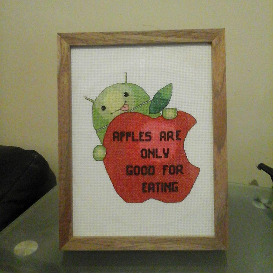 Android vs apple cross stitch by synergystitches on deviantart