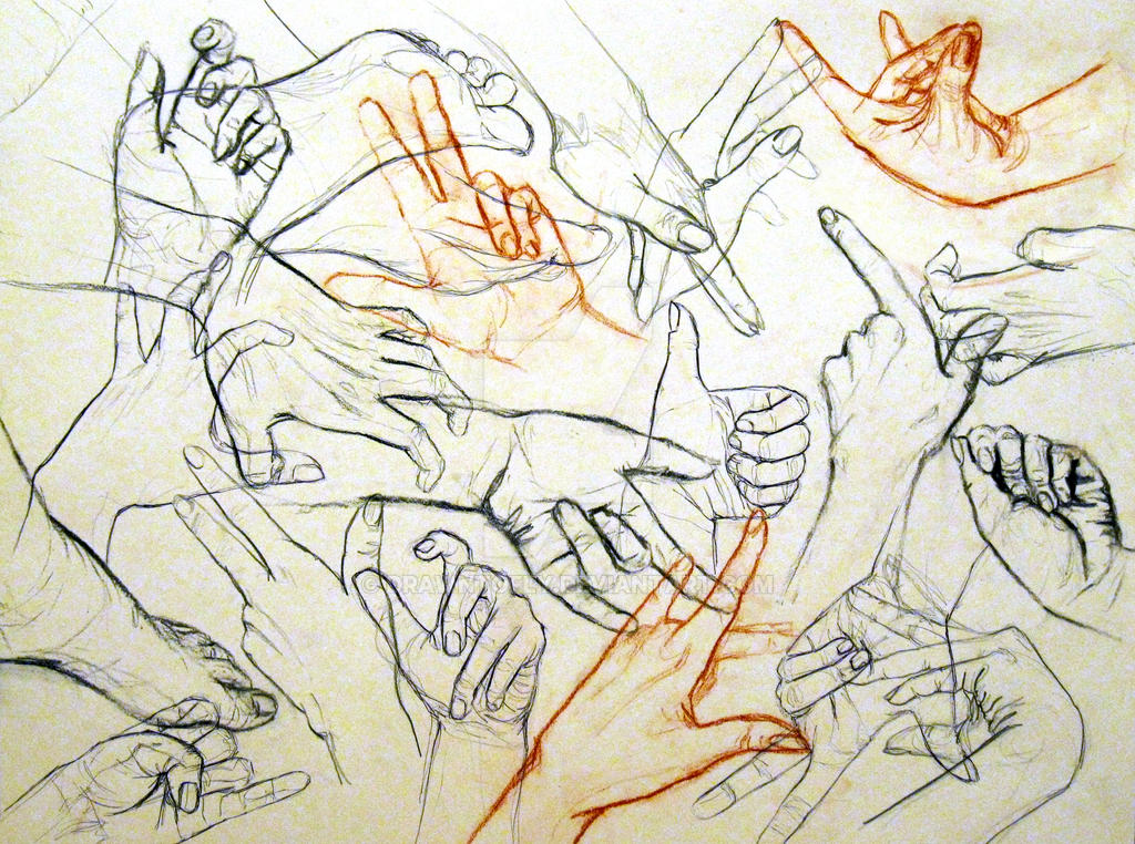 Contour Hand Drawing by drawntofly on DeviantArt