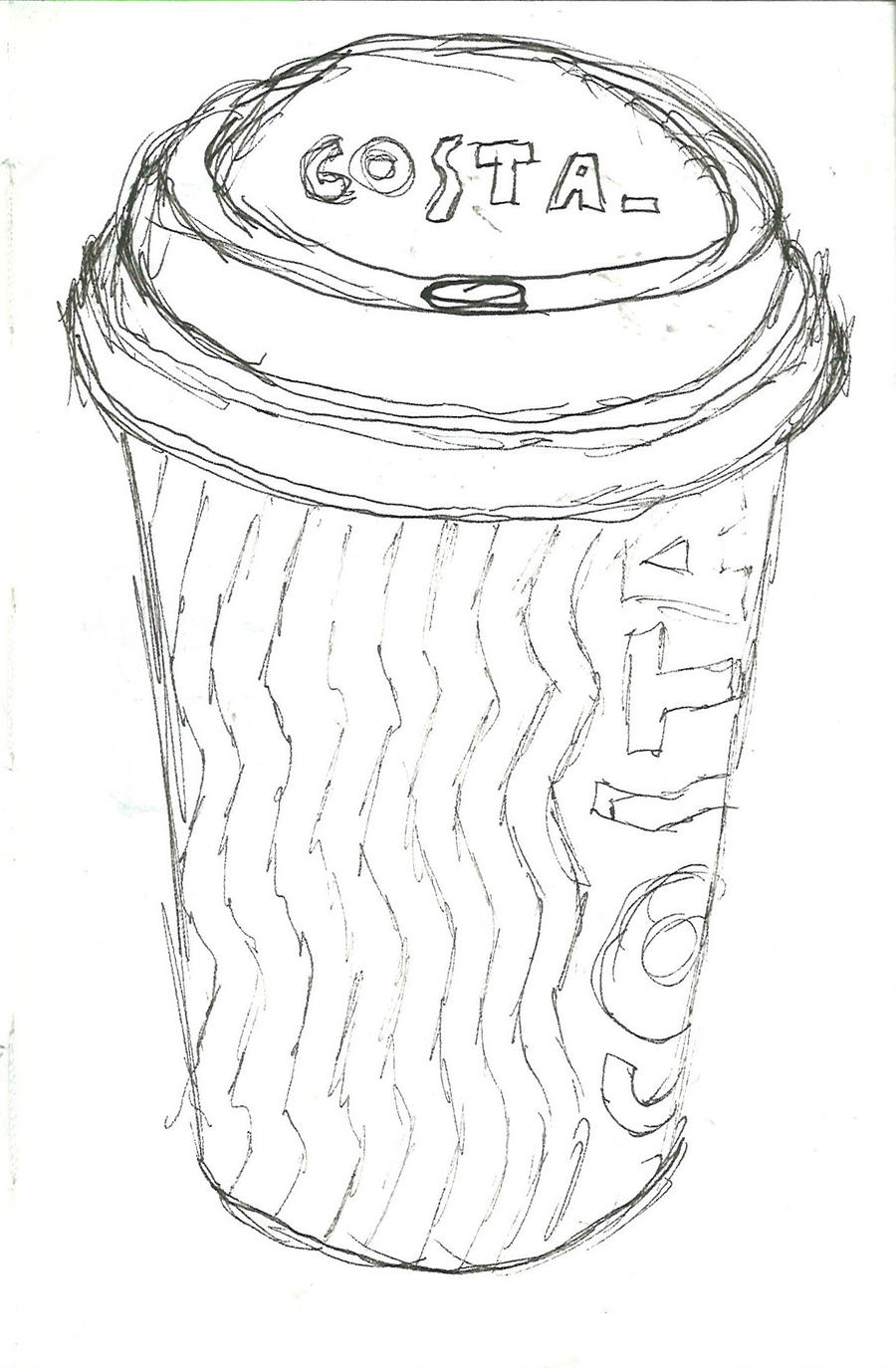Coffee cup sketch - Costa Coffee Cup By Drakesillustration Costa Coffee Cup By Drakesillustration