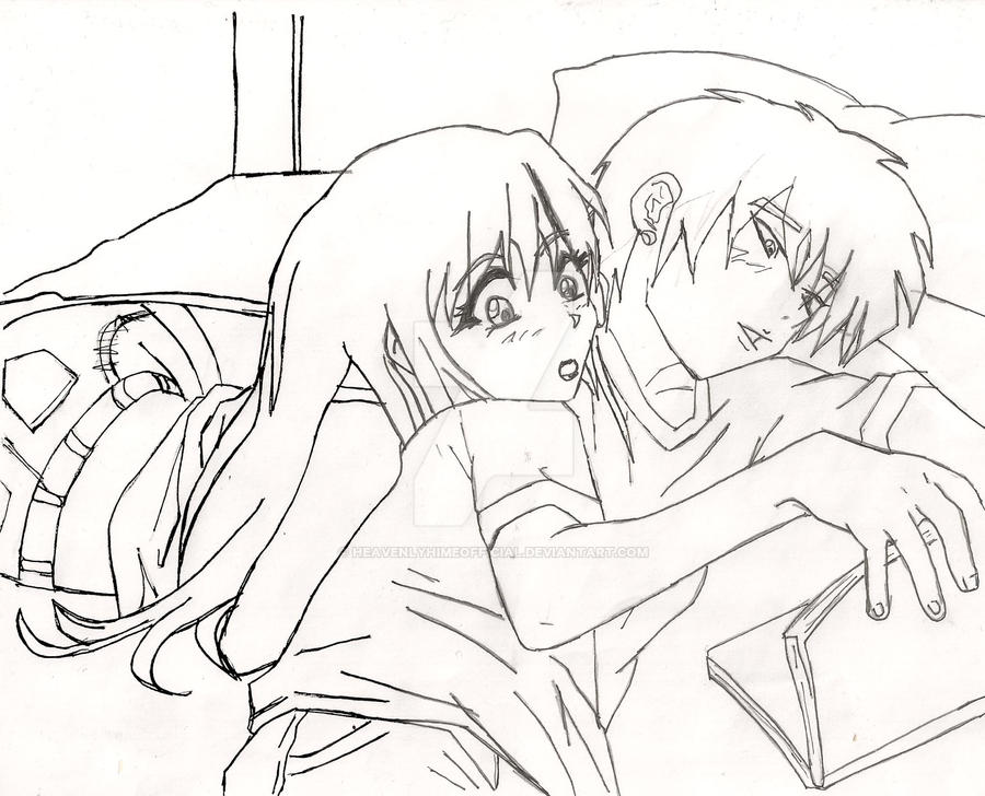 Anime couple pencil drawing by HeavenlyHimeOfficial