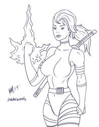 Psylocke Inks Coloring Sheet by MiniWeeb