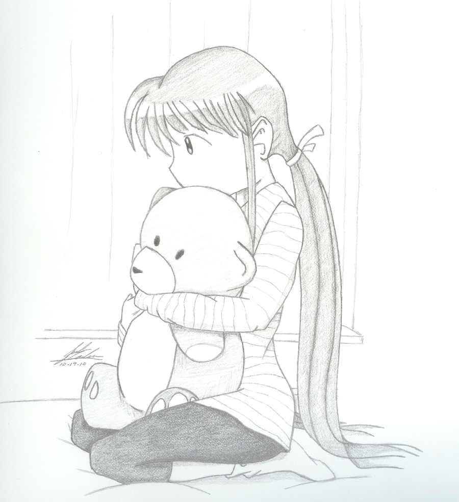 How to draw sad little girl