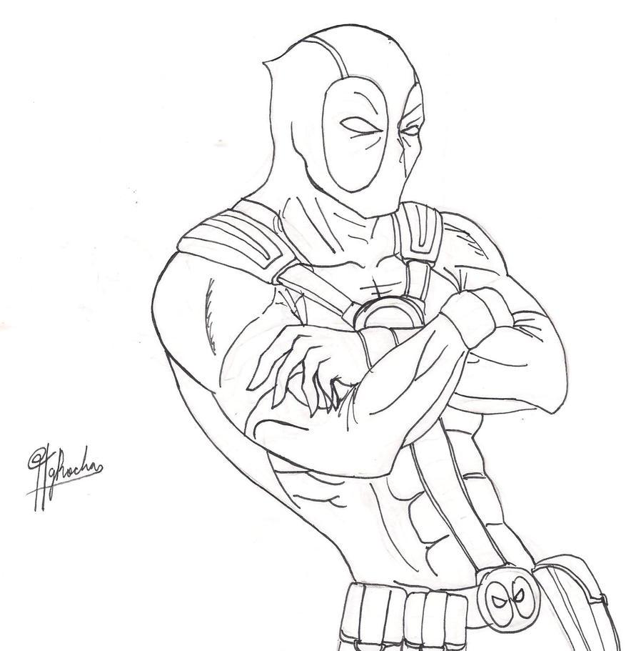 Marvel Deadpool Ausmalbilder Gratis: Deadpool Lineart V1 By Spideyfan3714 On DeviantArt