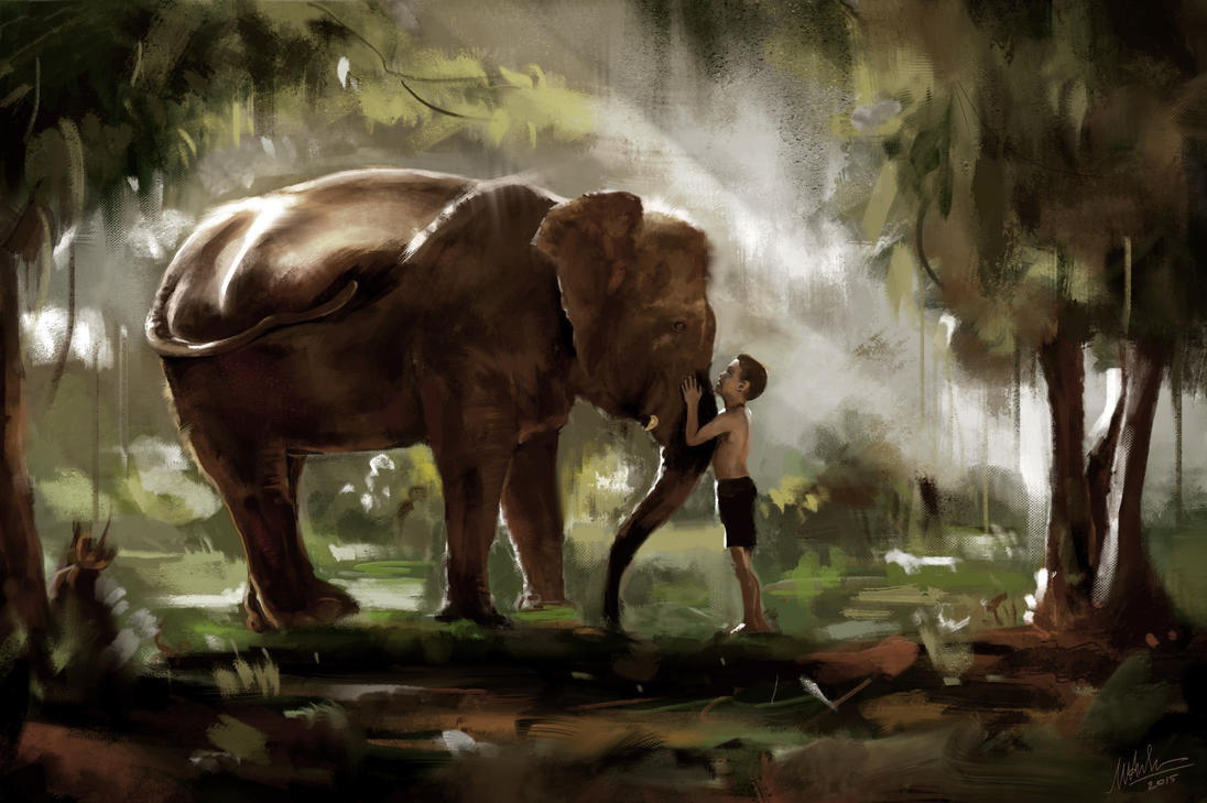 Elephant and the Boy Study by MaiAnhTran