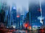 Japanese street on a rainy night