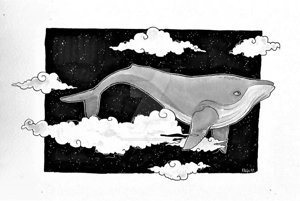 Flying whale by ElsieDuBlog