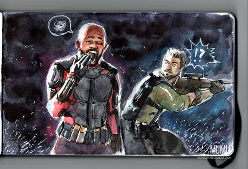 Bored Deadshot and Rick Flag watercolor fanart