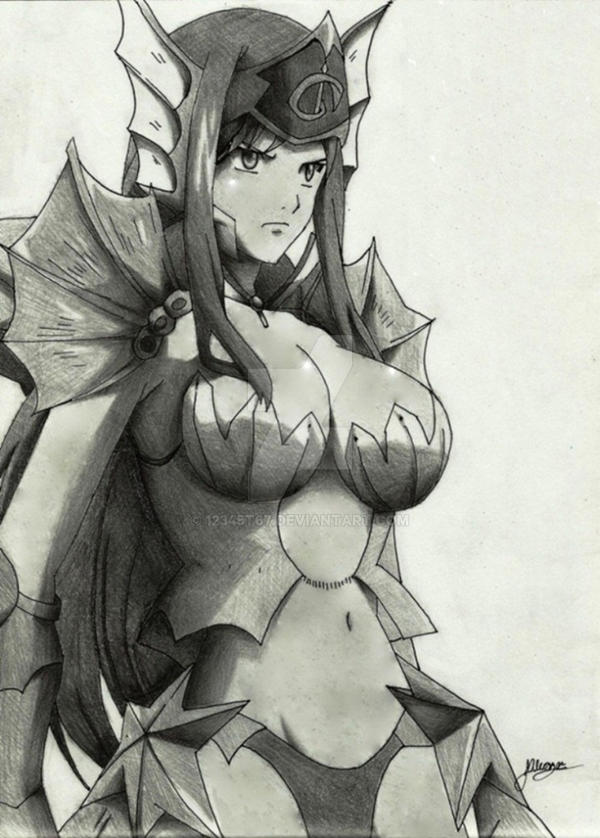 Erza Sea Empress Armor drawing by Al by 12345t67