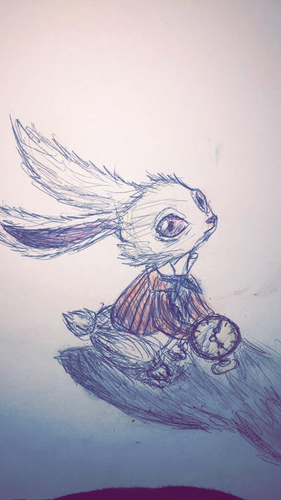 Sad White Rabbit  by Krysta-Khaos