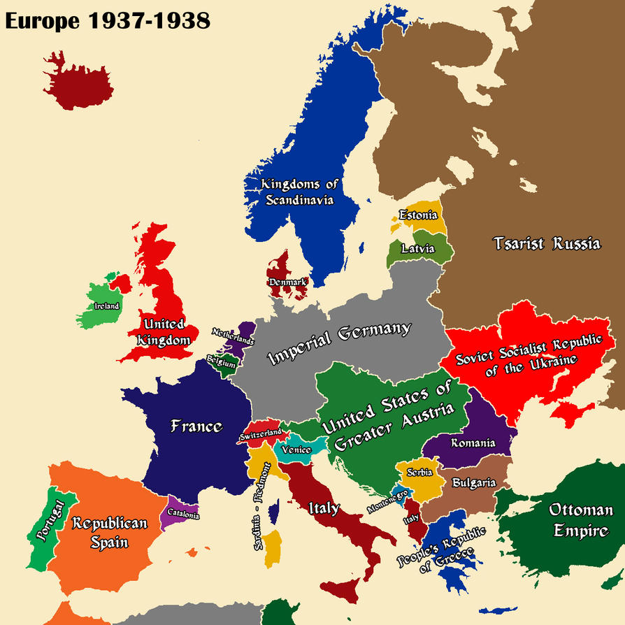 AltHist Europe Map 1937 Part 1 by DaemonofDecay