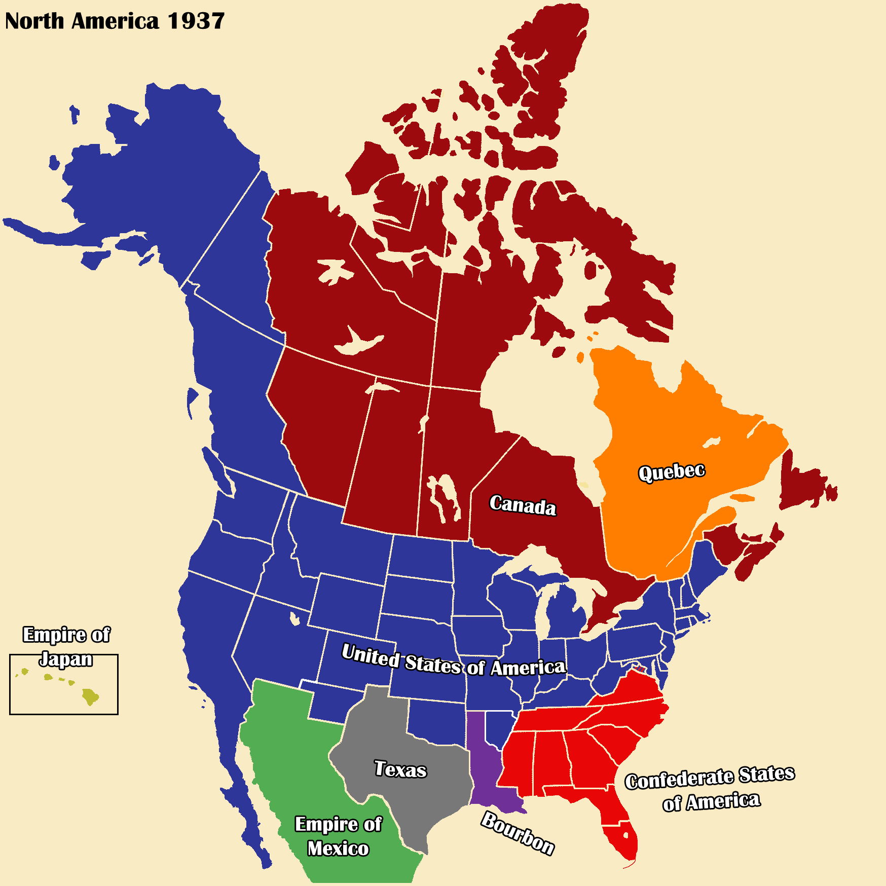 AltHist America Map 1937 1-3 by DaemonofDecay