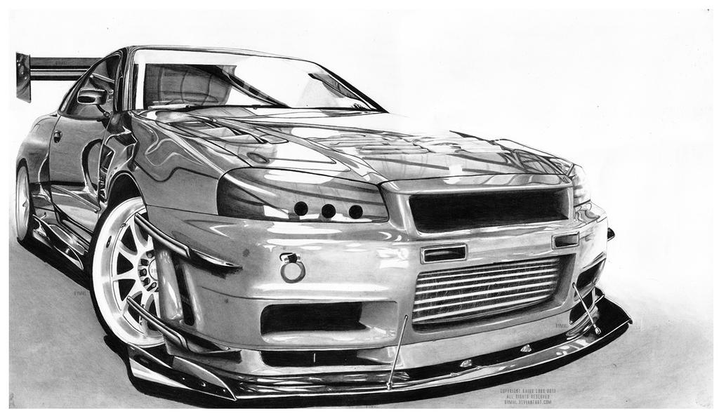 Nissan Skyline Sketch Nissan Skyline gt r R34 Wdt by
