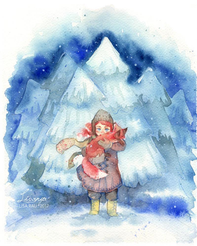 Snowy fir trees by Livanya