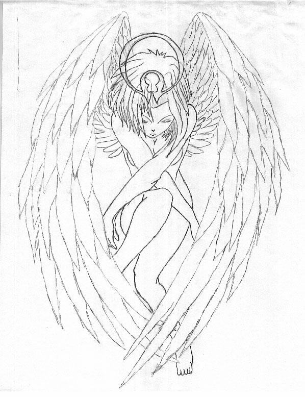 how to draw a male angel