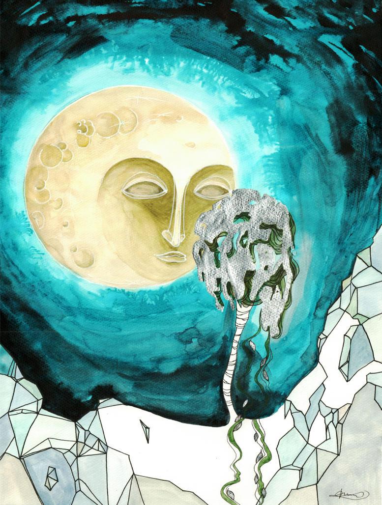 moon and brich by Ondrejkova
