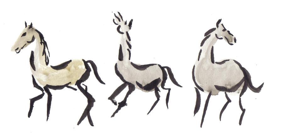 Sumi-e horses by kennedyblue