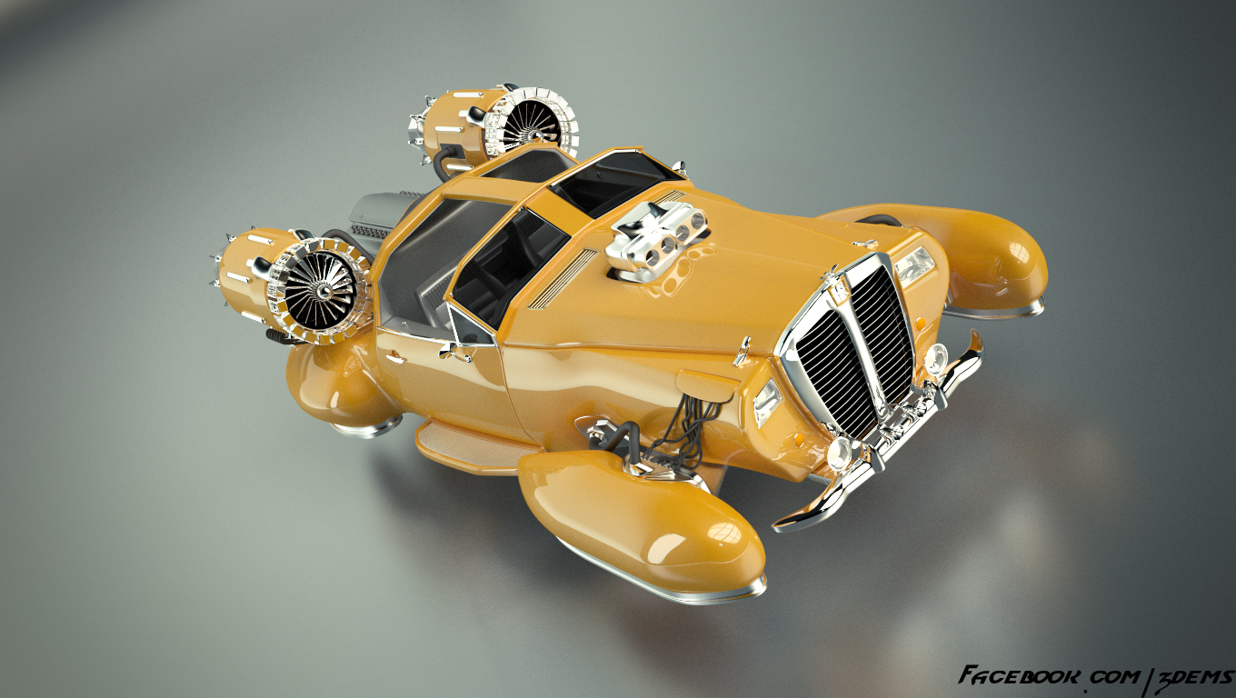 retro hover car by axel redfield