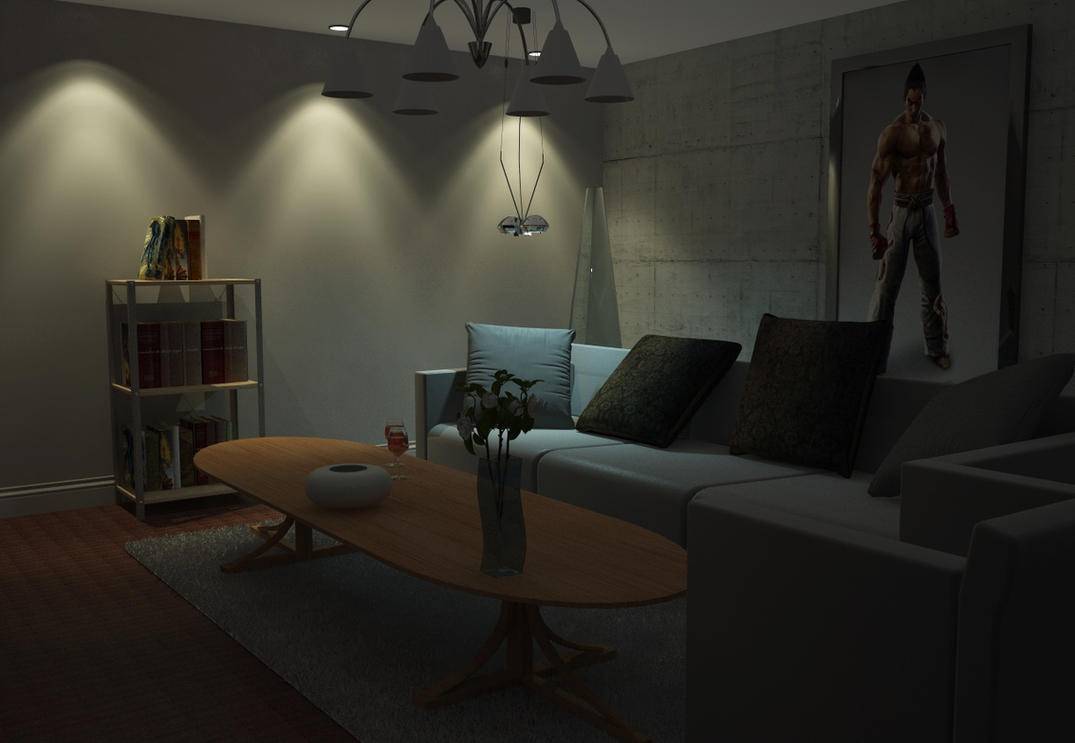 Living Room Night living room night sceneaxel-redfield on deviantart