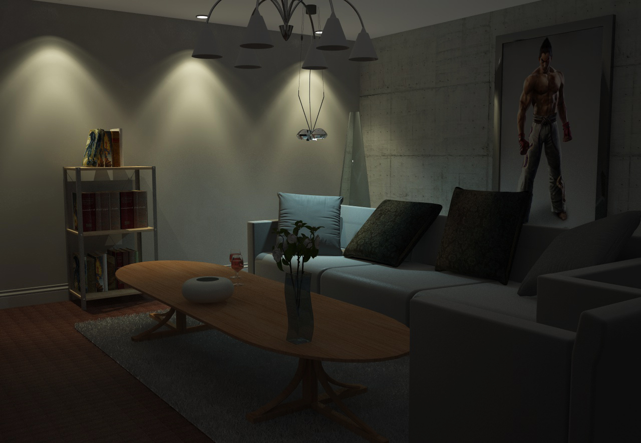 Living room night scene by axel redfield on deviantart