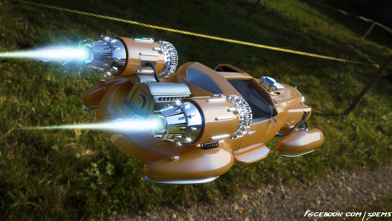 hover car flying backview by axel redfield