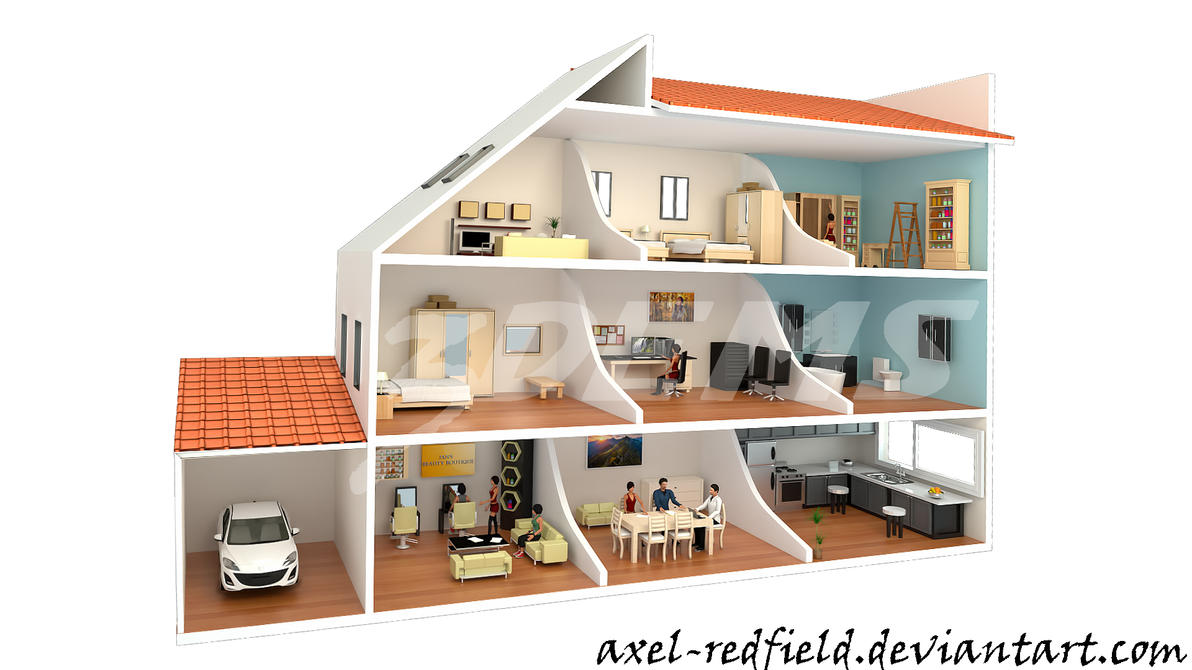 3 Dimensional House Cross Section