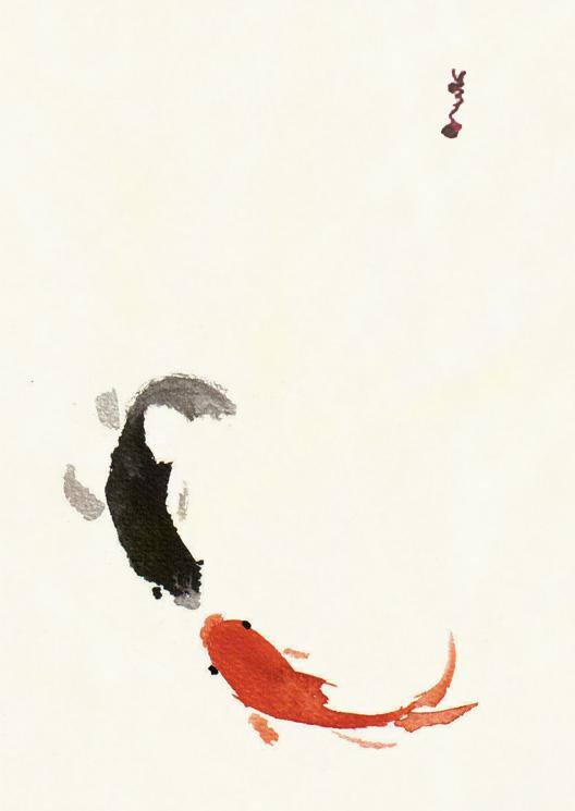 Koi vs koi by blackcat on deviantart for Red and white koi