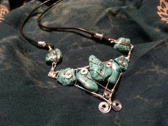 Wire Wrapped Geometric Turquoise Necklace by plangkye