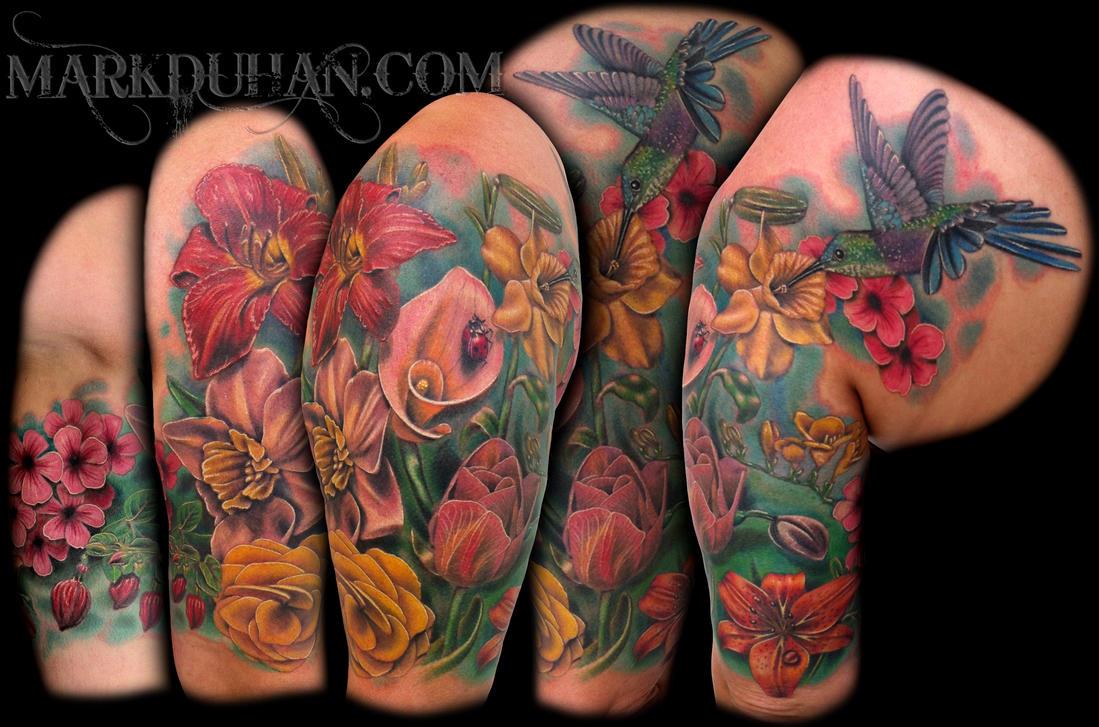Flower half sleeve by amduhan on deviantart for Flower sleeve tattoo ideas