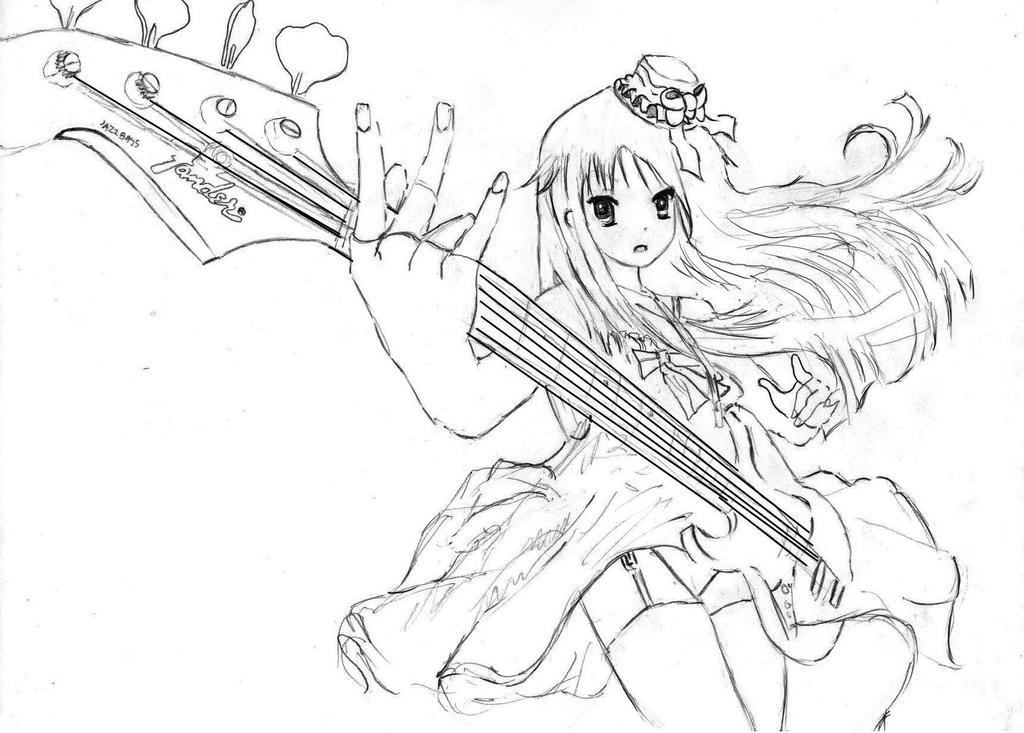 linework fender jazz bass girl by toadpoo on deviantart