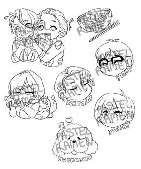 yuri on Ice stickers Wip 2