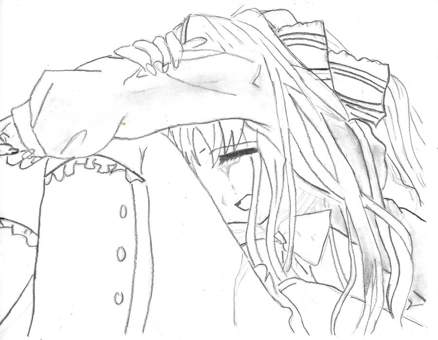 Sad Woman Crying Drawing