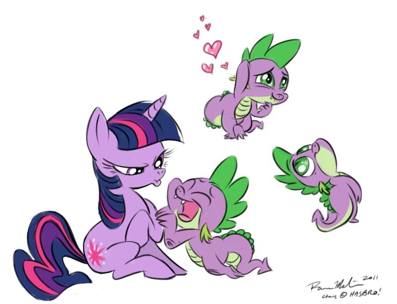 Twilight and Spike by Raveneesimo