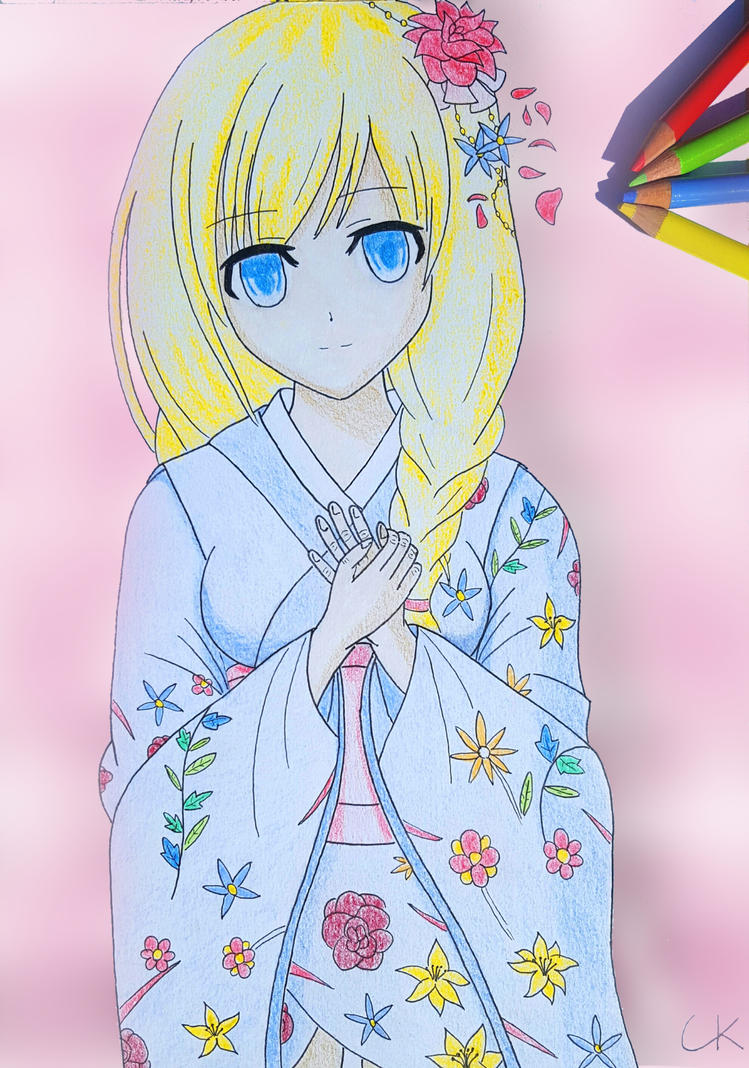 Lineart - Girl in kimono Colored by eastphoto99 on DeviantArt