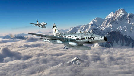 F-100s flying over the Alps