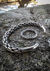 Viking plaited silver torc bracelet and ring by TheMattchu