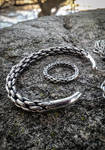 Viking plaited silver torc bracelet and ring