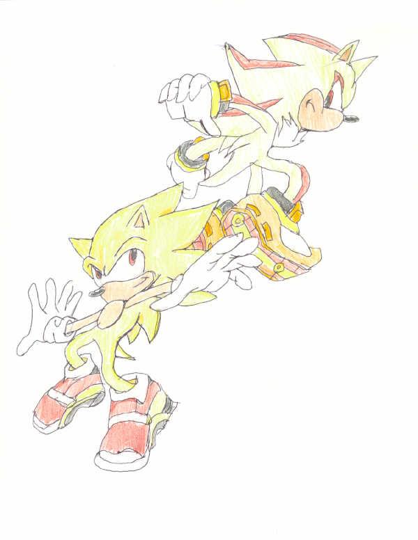 my super sonic and shadow drawing by XxSpikeTheHedgehogXx on