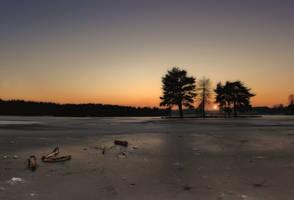 Frozen Lake in Hawley by bullispace