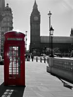 Big Ben and a red telephone box by bullispace