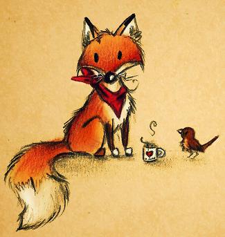 Fuchs und Vogel by karpfinchen
