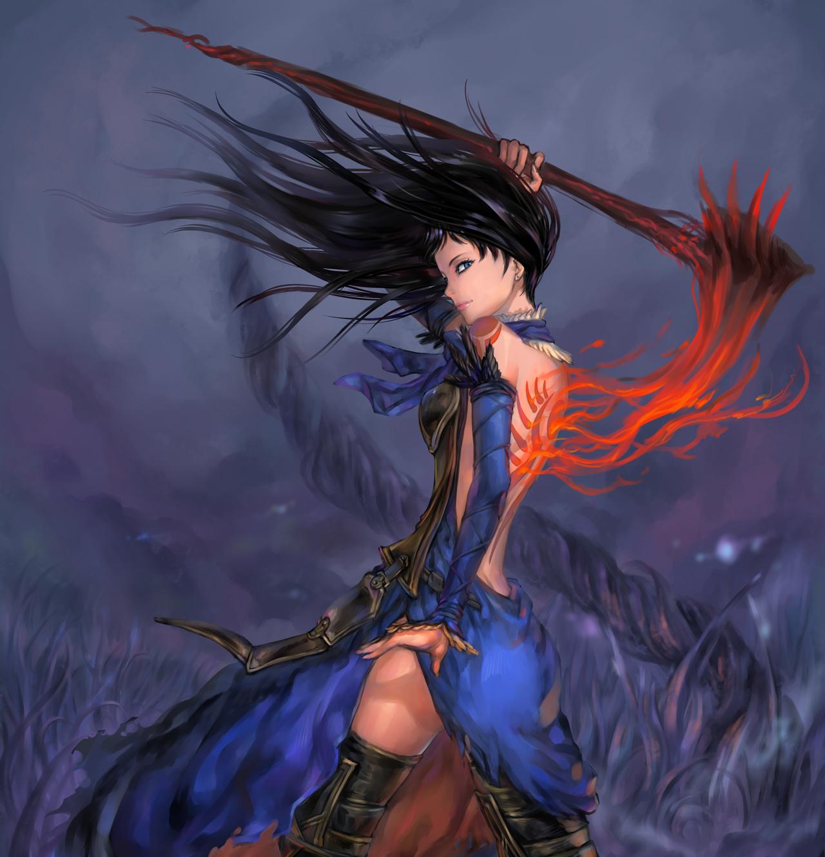 Shanoa with a scythe by goenitzchild