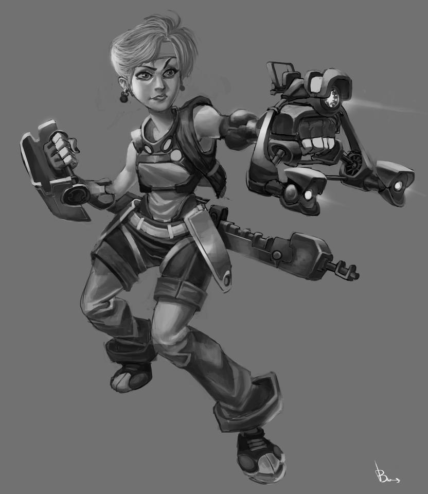 Girl High Tech Gun by salahh