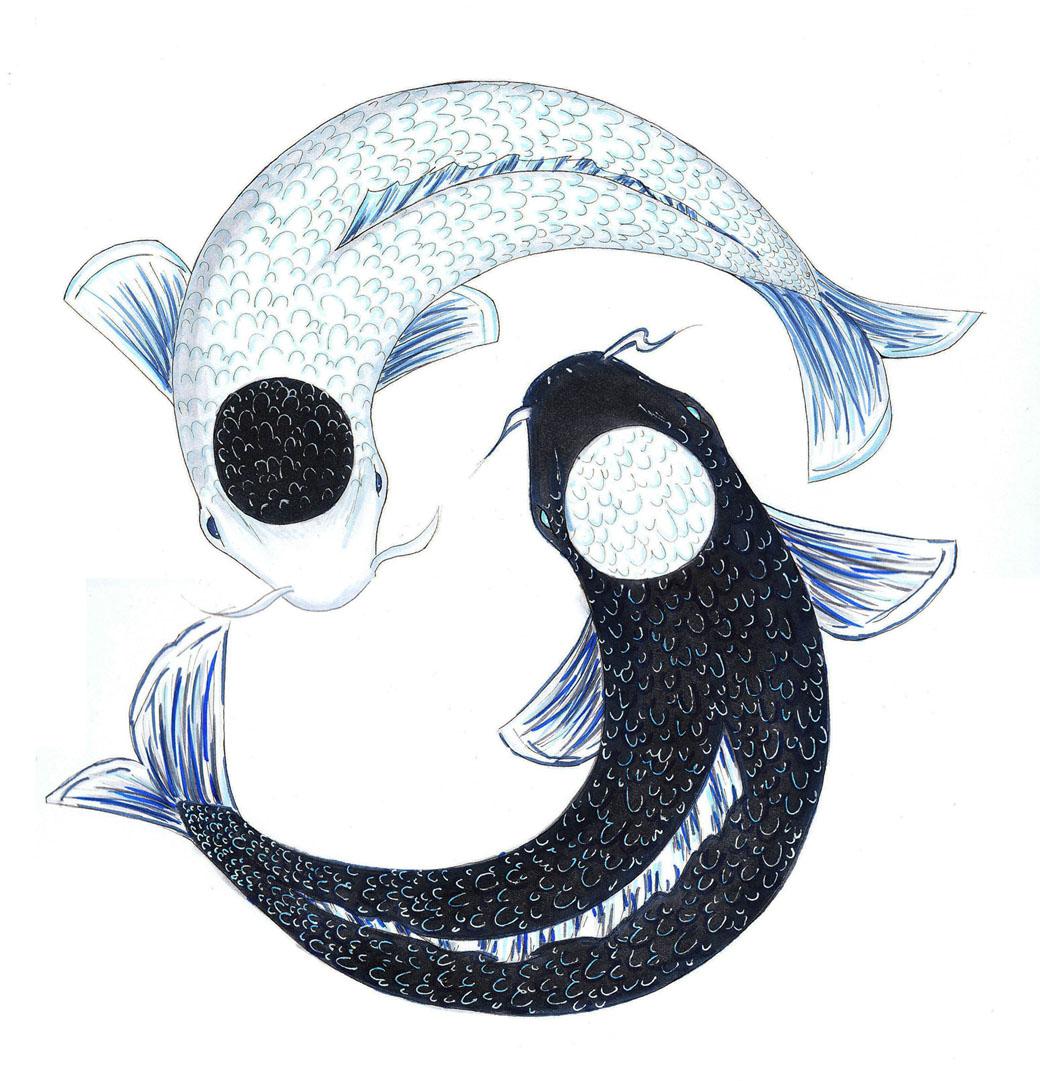 Ying yang koi by namyi on deviantart for Koi yin yang